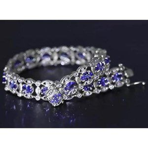 Jewelry - Ceylon Blue Diamond Bracelet 15 Carats White Gold